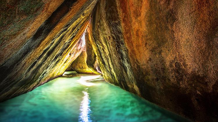 Underground cave in British Virgin Islands