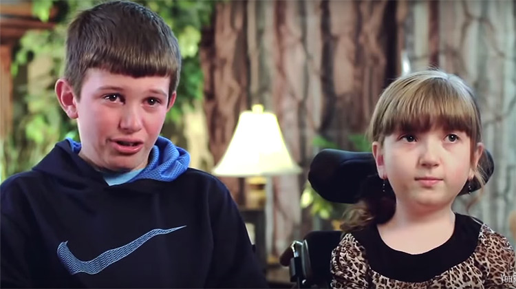 Brother tears up talking about special needs sister