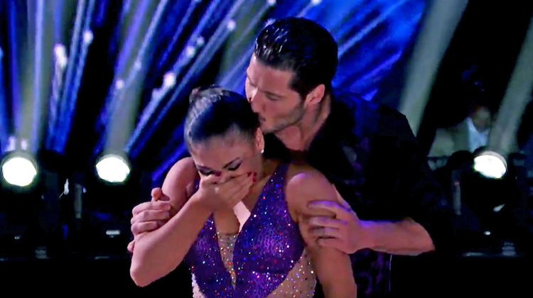 laurie hernandez in purple crying. kissed on head by partner
