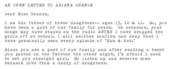 Dad 3 Ariana Grande Fans Posts Powerful Open Letter To