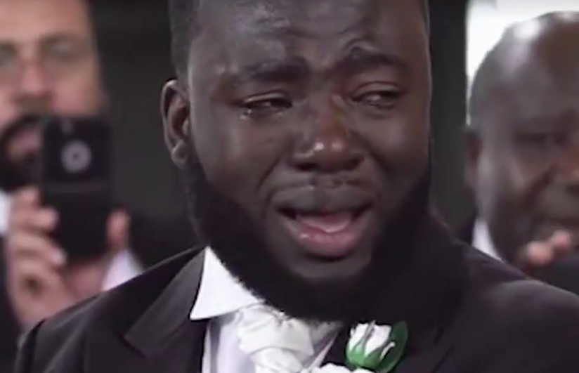 Gabriel Deku in tears at wedding