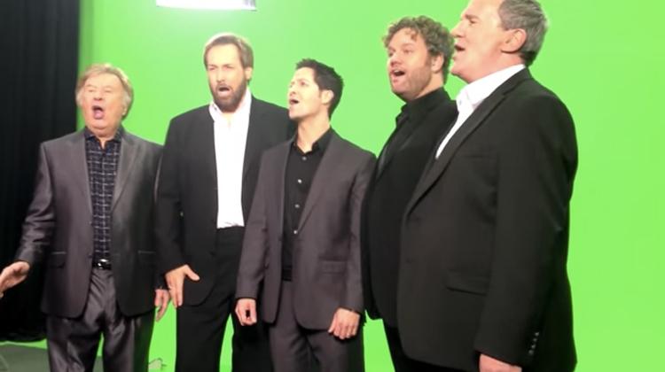quintet green screen sing national anthem