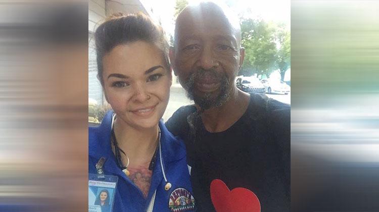 homeless man with pokemon go girl