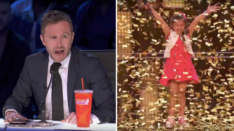 golden buzzer girl jumps up. judge stunned