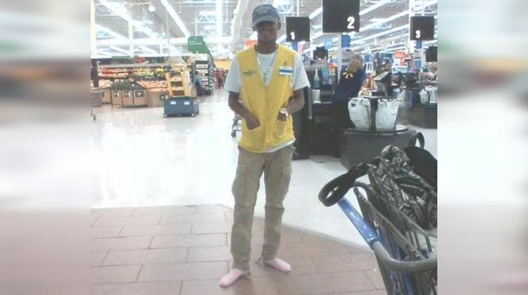 walmart employee wearing pink socks