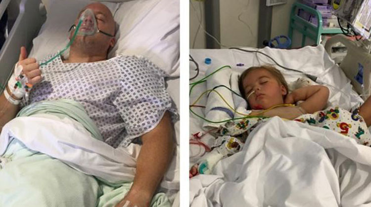dad and daughter in hospital for kidney transplant
