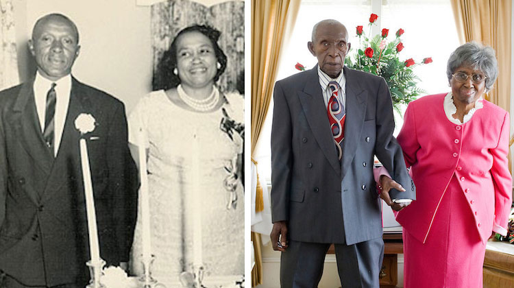 Vintage photo next to more current one of couple with longest marriage