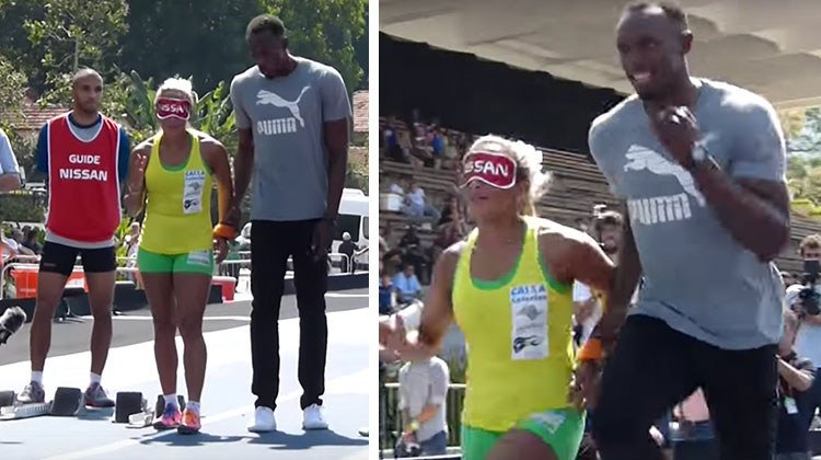 usain bolt stands next to paralympian in yellow and green, runs as guide
