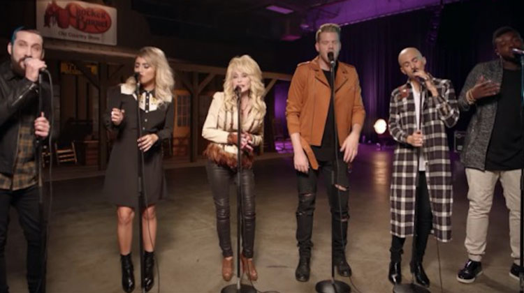 pentatonix and Dolly Parton lined up singing