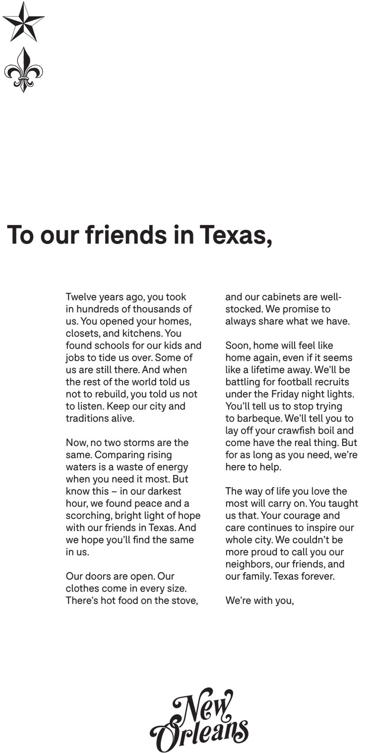 New orleans just sent texas the most stirring message of hope the chronicles assistant city editor matt schwartz shared the beautiful letter in a tweet admitting the ad had him misty eyed mitanshu Images