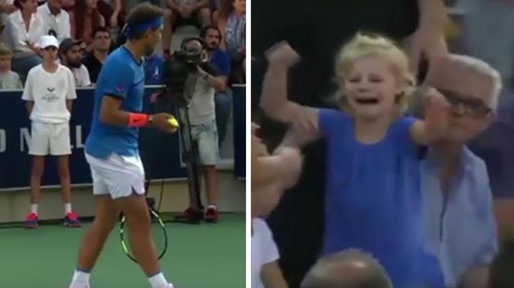 nadal halts games, little girl in blue crying for her mother