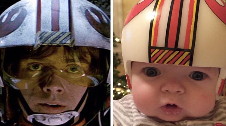baby mimics luke skywalker rebel helmet