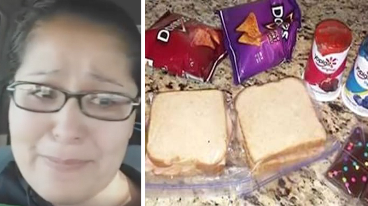 mom in tears and two lunches