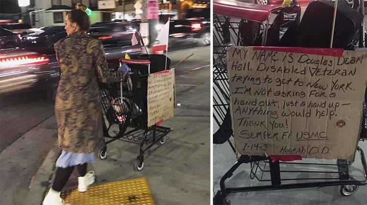 woman takes homeless cart