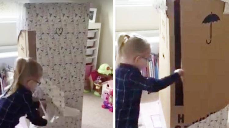 little girl opens giant present