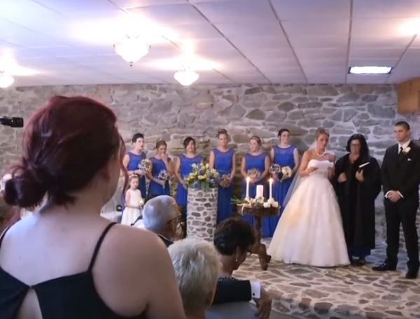 bride makes vow to groom's ex