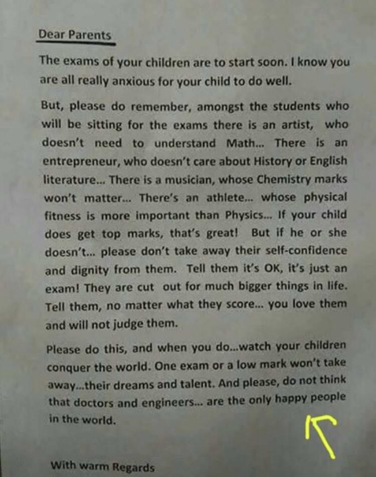 Singapore Principal's Letter To Parents Before Exams  -InspireMore com