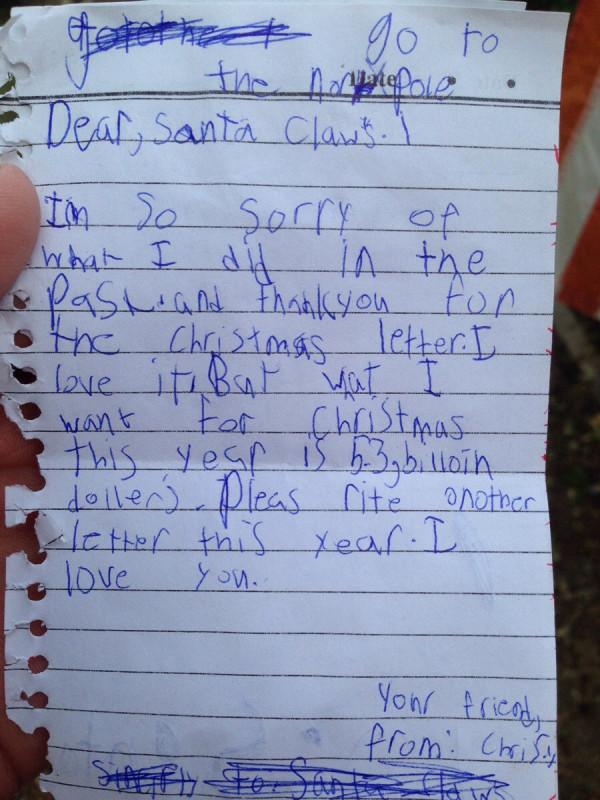 Dear santa 15 kids with hilarious christmas requests hey santa i want a christmas present bigger than the gdp of 57 different countries spiritdancerdesigns Choice Image