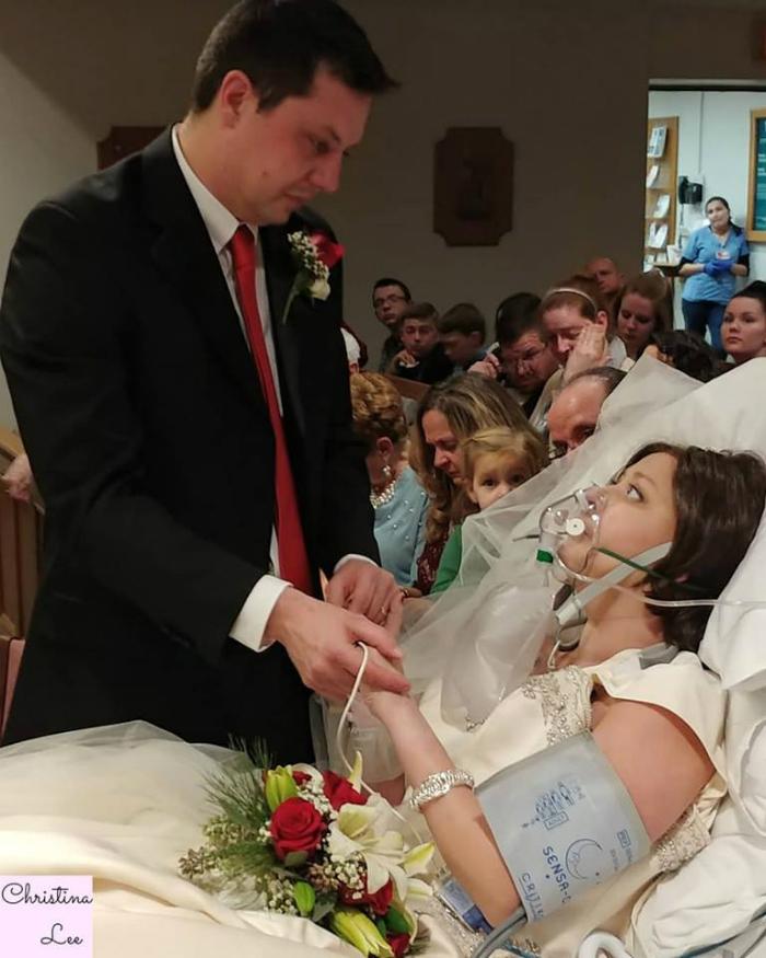 bride married true love hospital bed 1