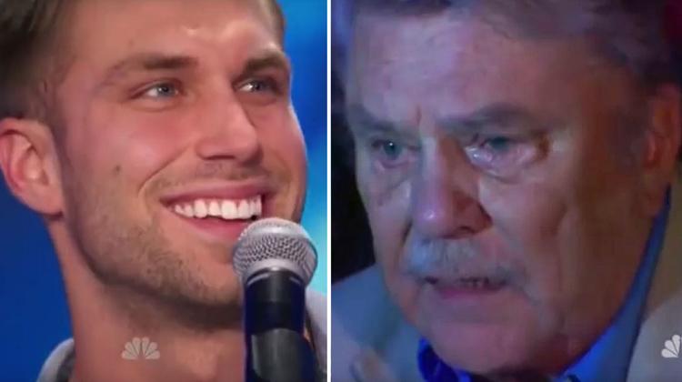singer smiles dad crying