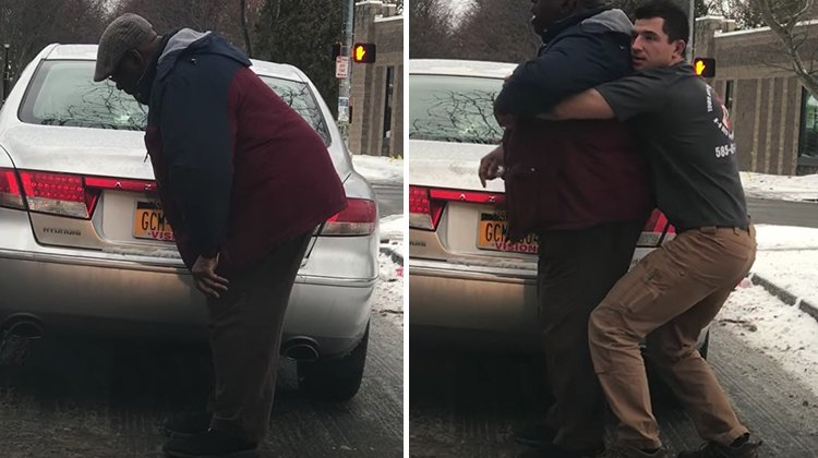 man hunched over by car, then young man giving heimlich