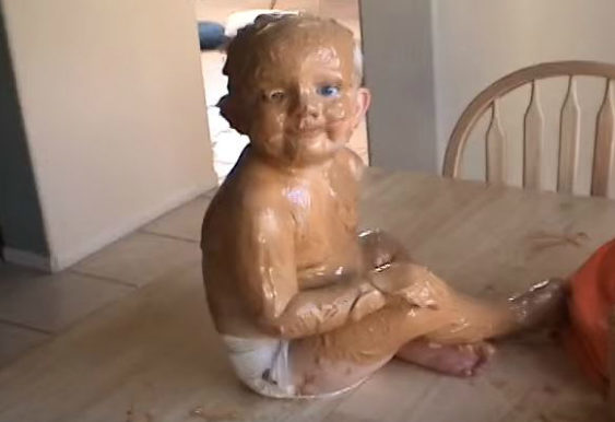 baby covered in pb