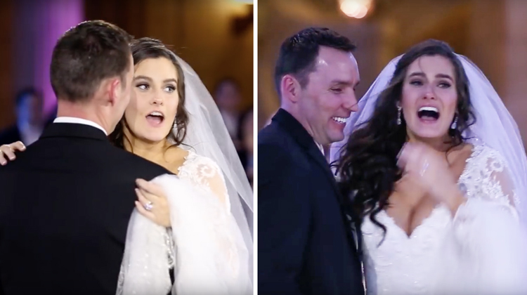 bride thinks first dance is ruined but then looks onstage for shock