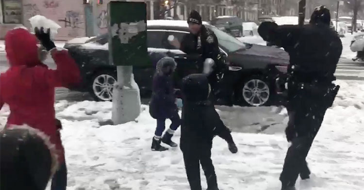 nypd snowball fight