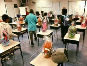 students getting easter baskets