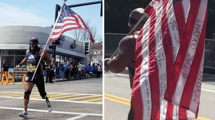 jose sanchez running marathon with american flag