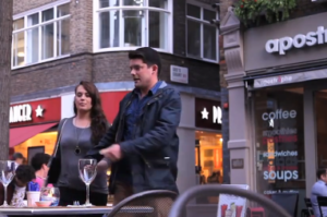 A man in London put on an entire production that involved nearly 30 people when he decided to pop the question to his girlfriend at St. Christopher's Place in London several years back.