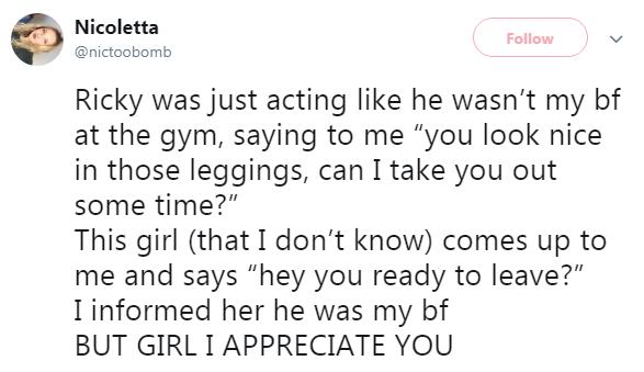 nicolette gym tweet