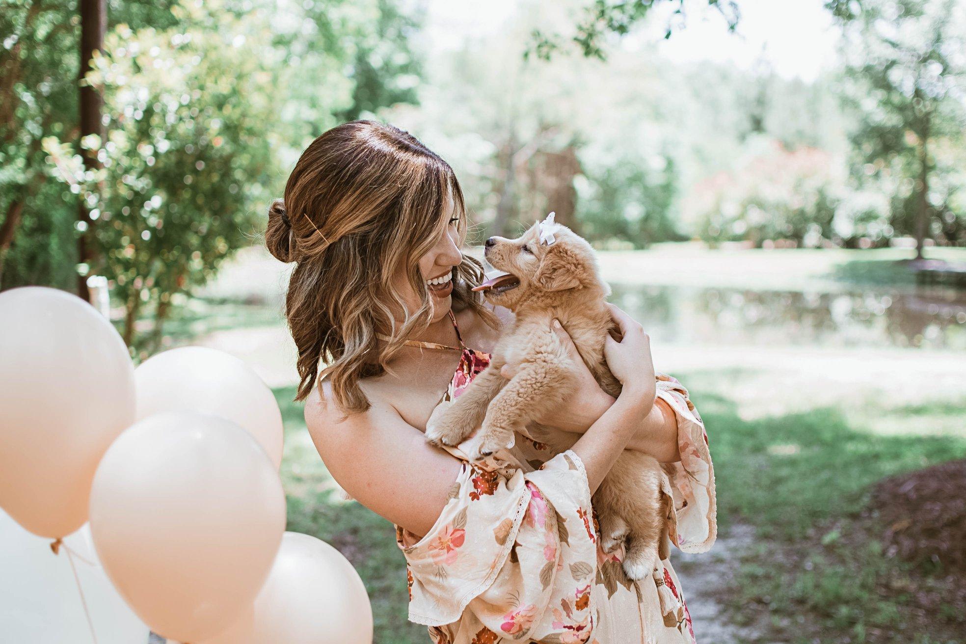 Gender Reveal puppy Carlye Allen