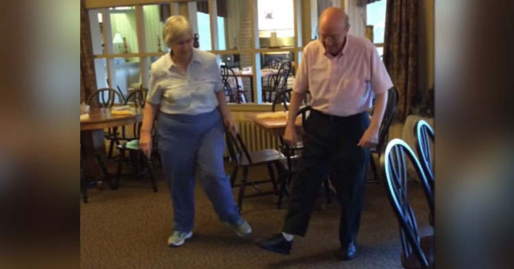 elderly couple uptown funk dance