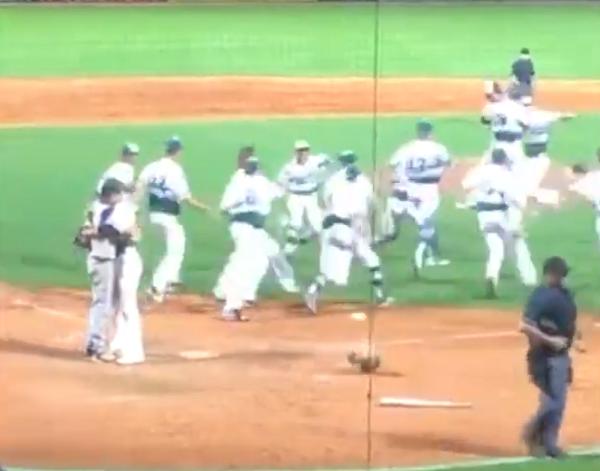 high school pitcher hugs friend
