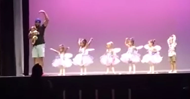 dad onstage with ballerinas