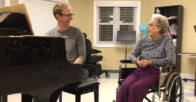 grandson plays piano with 88-year-old