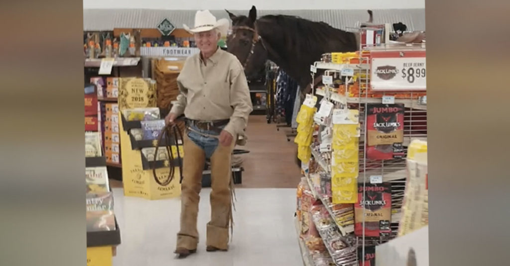 """a8f6115d1e7a Sign Said """"All Pets Welcome,"""" So Cowboy Brings 1 Very Big Pet Into Tractor  Store."""