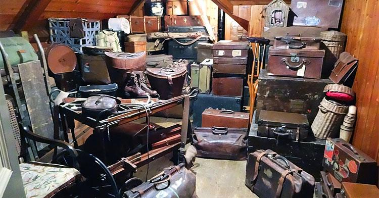 luggage in attic