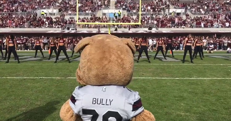 Mississippi State Mascot Joins Cheerleaders For Epic Dance