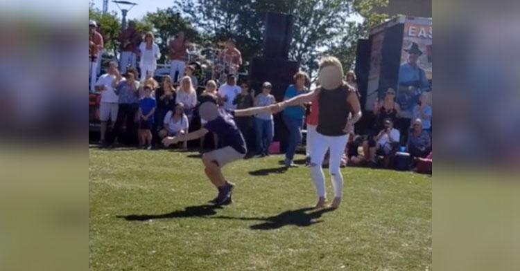 mom son shag dance