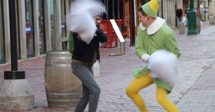 elf pillow fight
