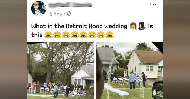 Couple S Front Yard Detroit Wedding Mocked On Social Inspiremore