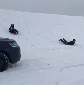 cops sled down hill