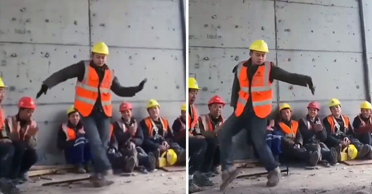 construction worker dance