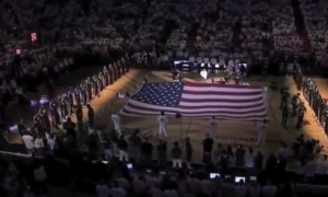 national anthem at basketball game