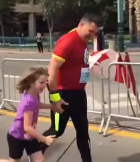 sean runs with daughter