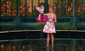 darci and petunia on stage