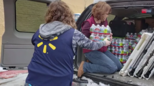 walmart employees with water