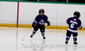 mason being funny on the ice